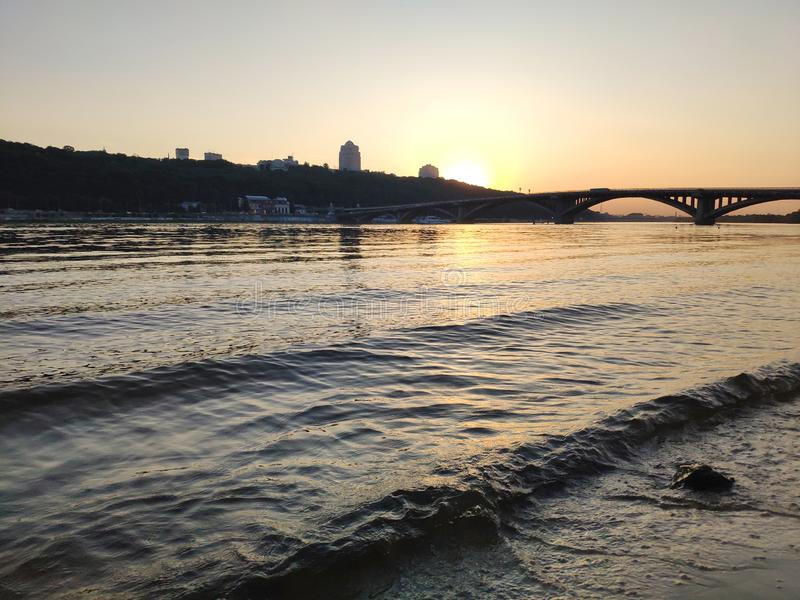 Sunset over Dnipro river, Ukraine royalty free stock image