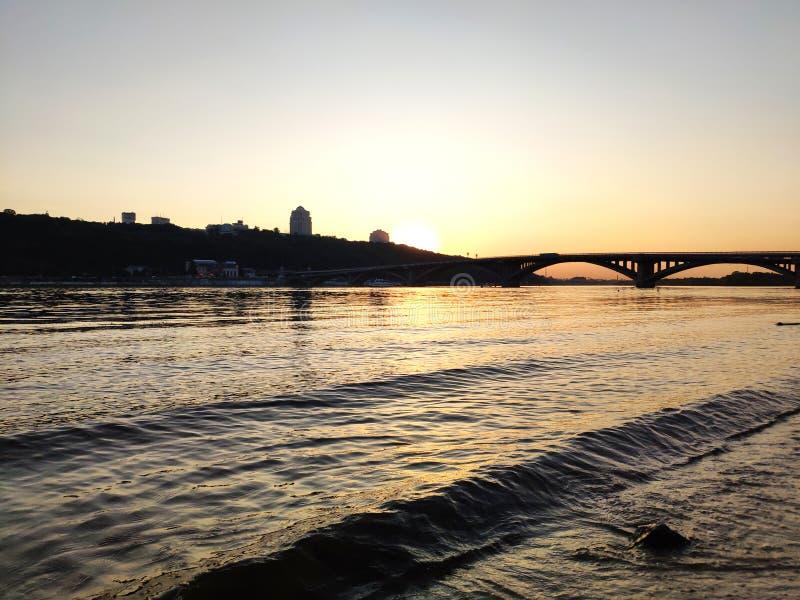 Sunset over Dnipro river, Ukraine stock photos