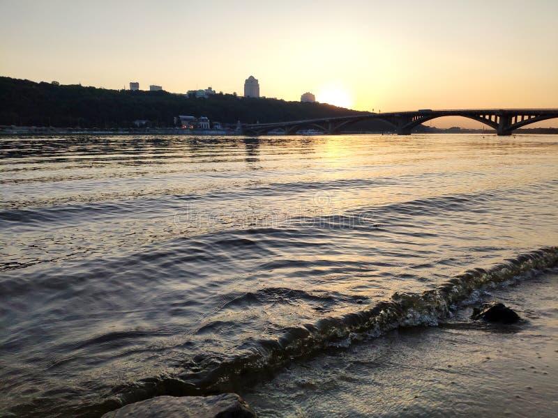 Sunset over Dnipro river, Ukraine royalty free stock photo
