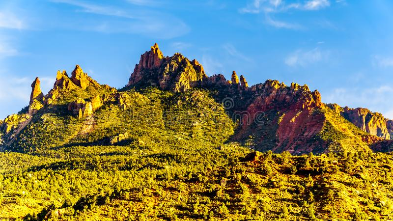Eagle Crags West mountain just south of Zion National Park in Utah, USA royalty free stock images