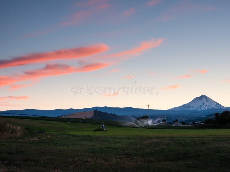 Sunset over farmlands around Mount Hood. Oregon state, USA stock photo