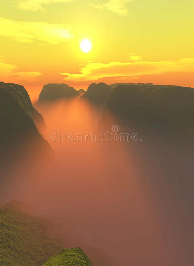 Sunset over flat canyon mountains. Sunset over foggy tops of flat topped mountains stock illustration