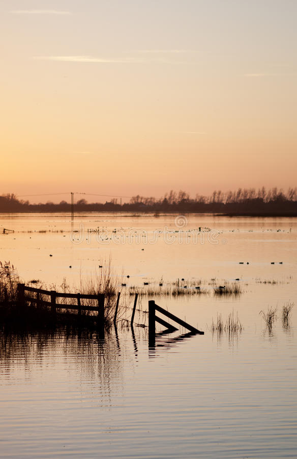 Sunset Over Flooded Wetlands. Stock Photo