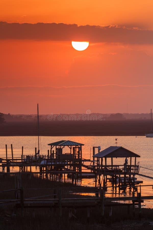 Sunset over Folly River Marina near Charleston South Carolina SC royalty free stock photography