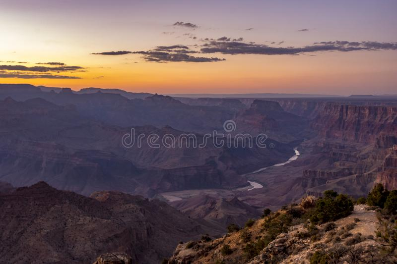 Sunset over the Grand Canyon stock images