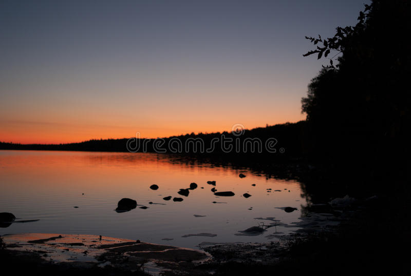 Sunset over the great lakes. Of Ontario, Canada royalty free stock photos