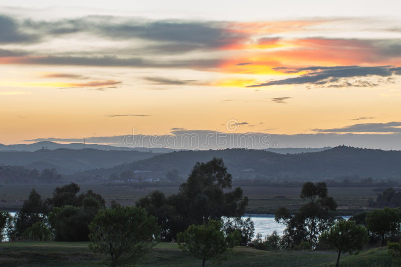 Sunset over the Guadiana River, Ayamonte stock image