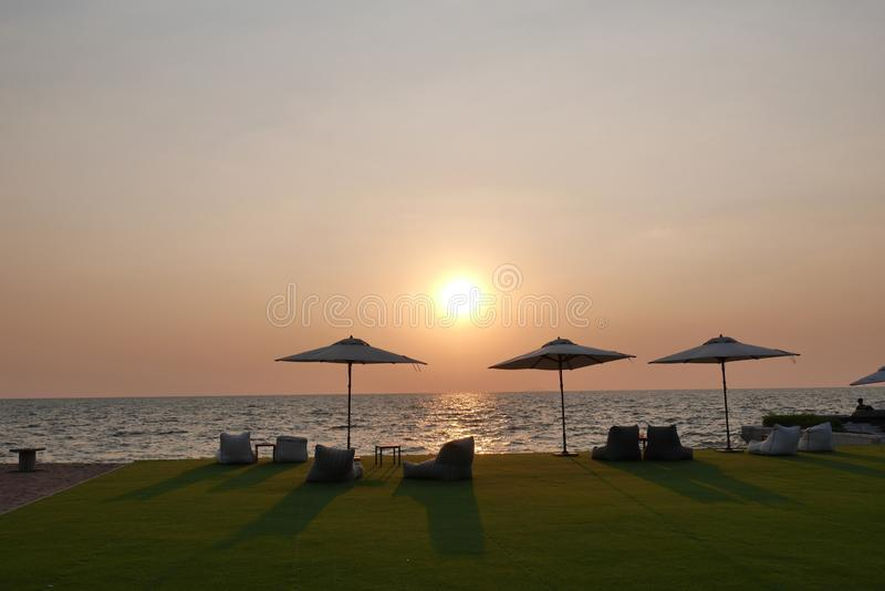 Sunset over the over the Gulf of Thailand stock images