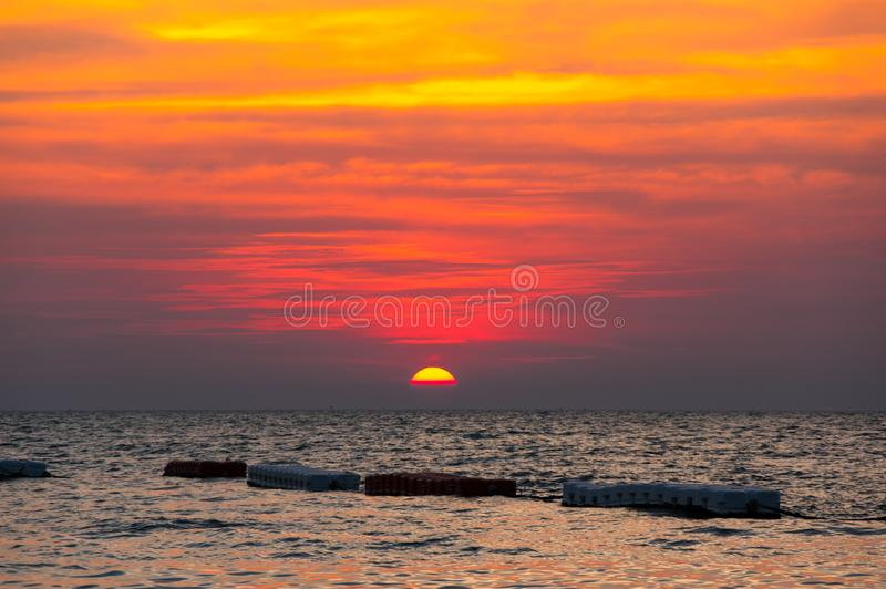Sunset over Gulf of Thailand royalty free stock image