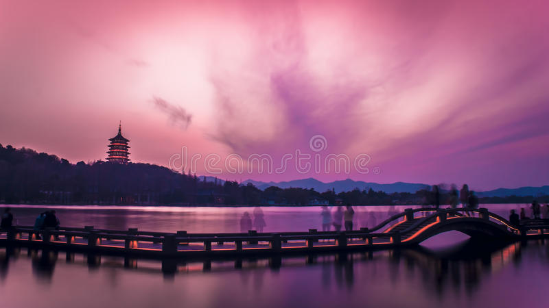 Sunset over Hangzhou West Lake, China stock photography