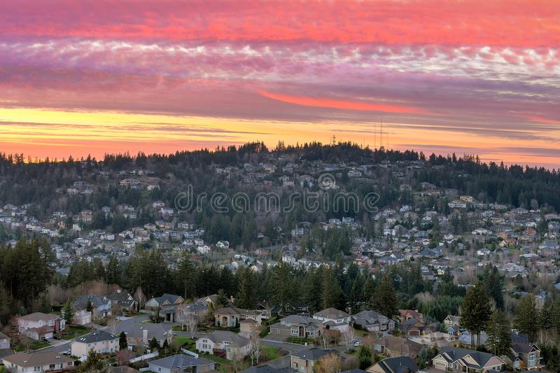 Sunset over Happy Valley Residential Neighborhood. Colorful sunset sky over Happy Valley Oregon residential suburban neighborhood stock photography