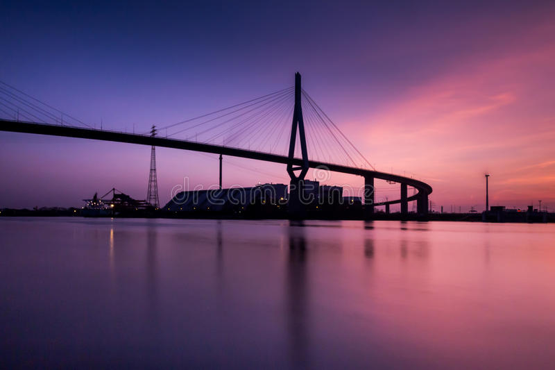 Sunset. Over Harbour Bridge in Hamburg, Germany royalty free stock photography