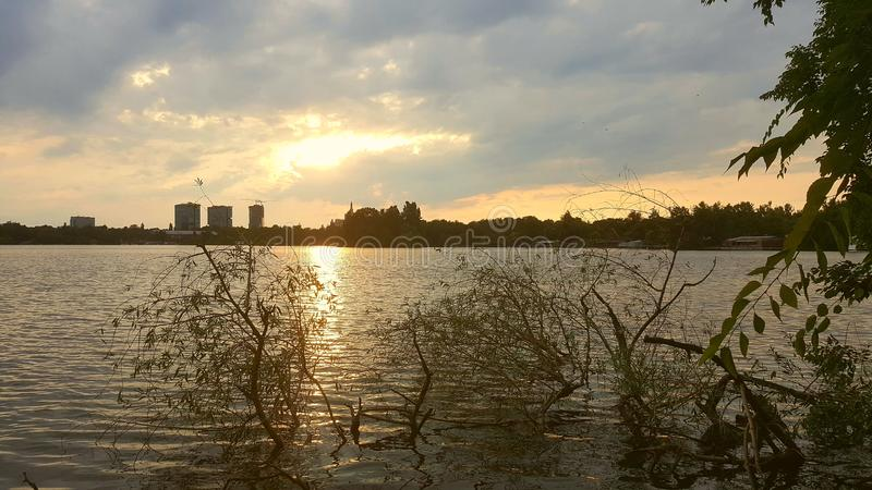 Sunset over Herastrau Lake in Bucharest stock images