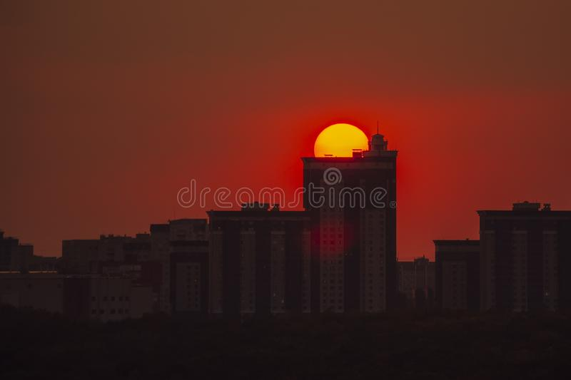 Sunset over high modern urban buildings in Voronezh stock photos