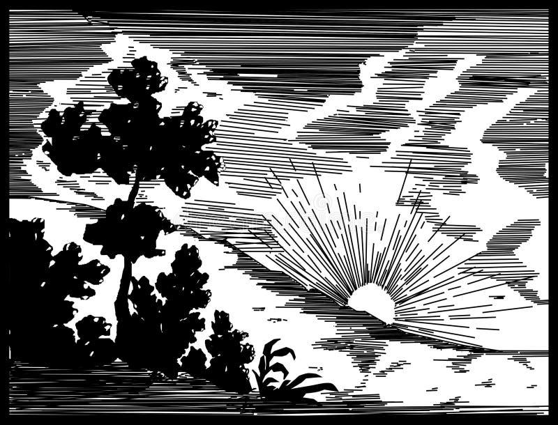 Sunset over hill - vector illustration. Sunset over hill -black and white vector illustration stock illustration