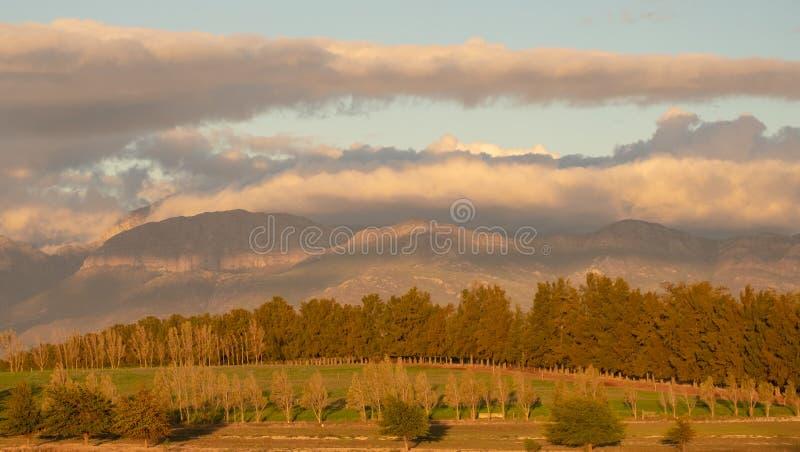 Sunset over the hills near Babylonstoren, Franschhoek, Wine Route South Africa royalty free stock photos