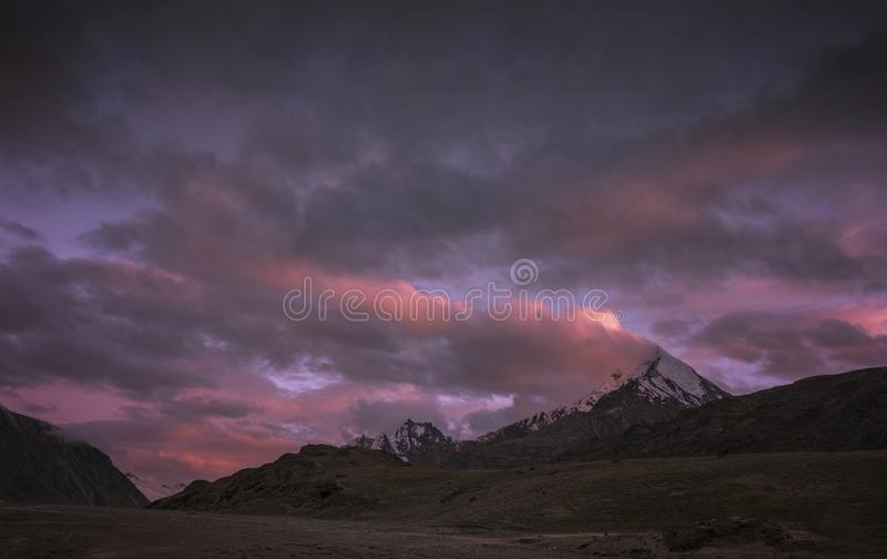 Sunset over Himalayas near chandrataal lake in Spiti Valley royalty free stock photos