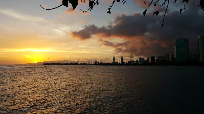 Sunset over Honolulu royalty free stock photography
