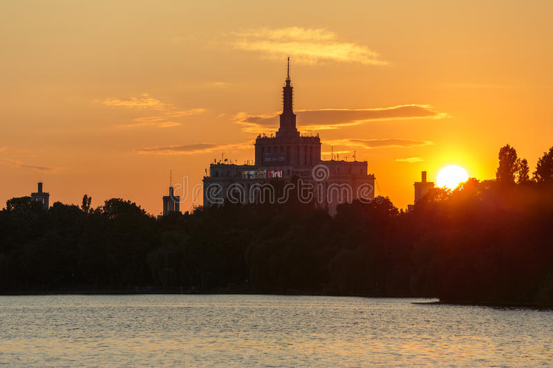 Download Sunset Over House Of The Free Press, Bucharest Editorial Stock Image - Image: 29338974