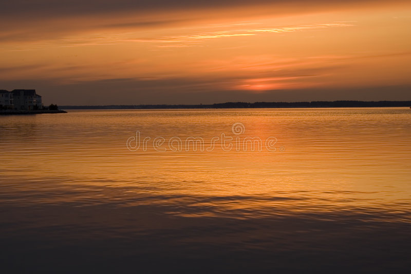 Sunset over Indian river stock image
