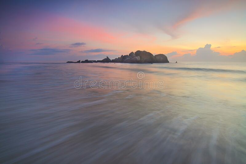 Sunset over island royalty free stock images