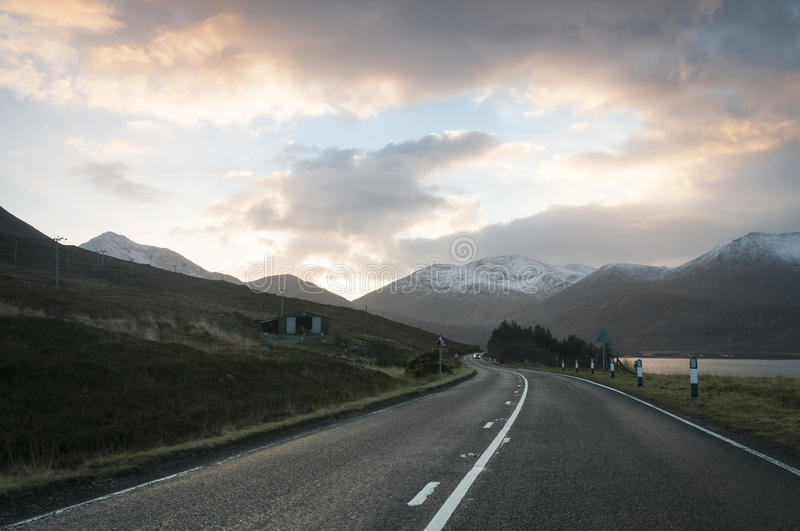 Sunset over the A87, Isle of Skye royalty free stock image