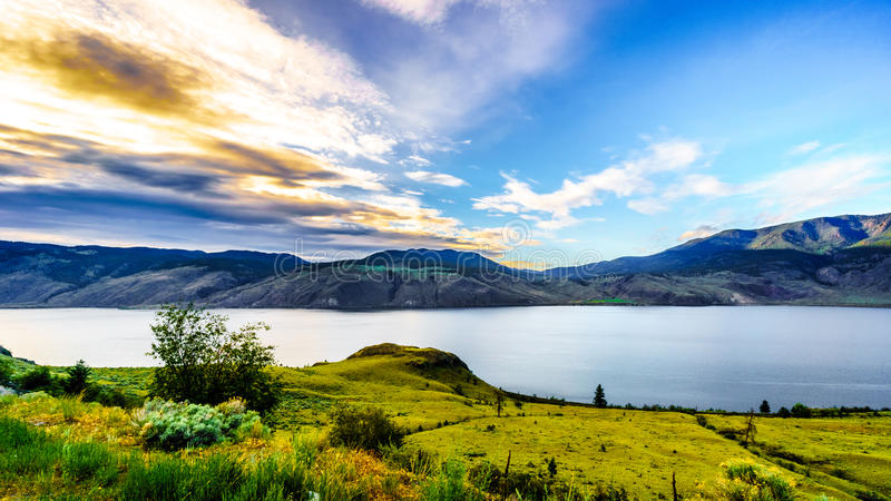 Sunset over Kamloops Lake along the Trans Canada Highway. In British Columbia, Canada stock photo
