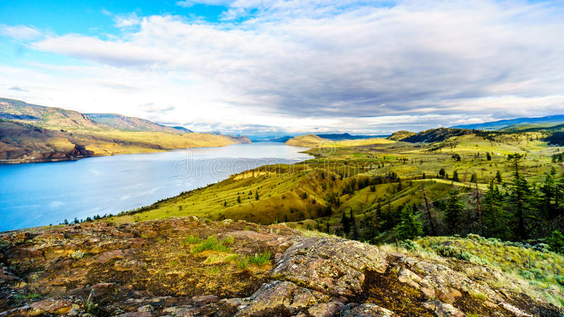 Sunset over Kamloops Lake along the Trans Canada Highway stock images