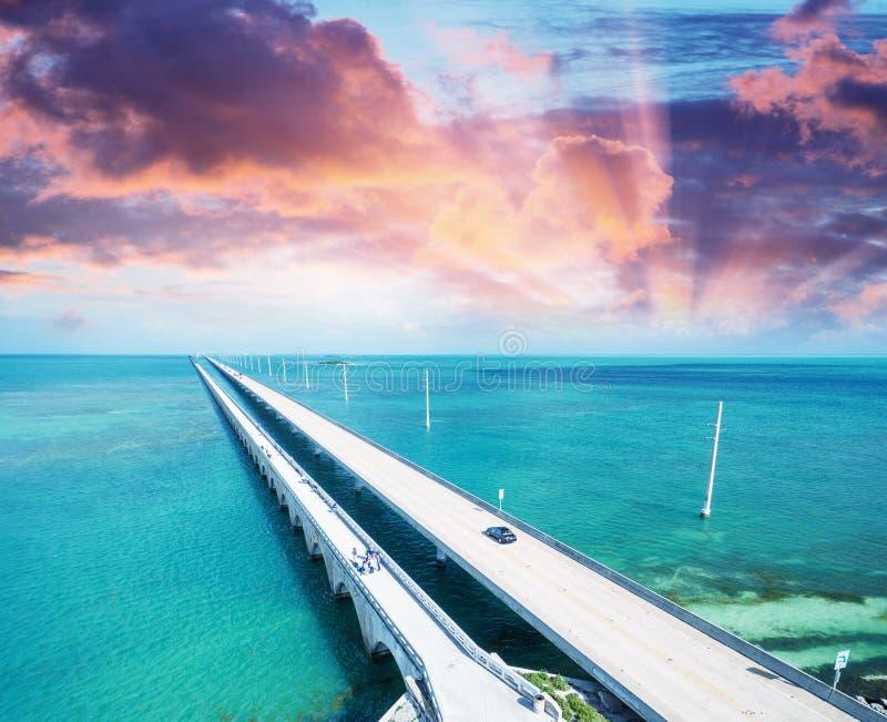 Sunset over Keys Bridge, Florida royalty free stock photos