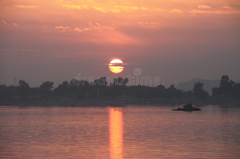 Sunset over Khanpur Lake Pakistan royalty free stock images