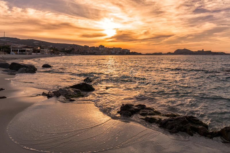 Sunset over L`Ile Rousse in Balagne region of Corsica stock photography