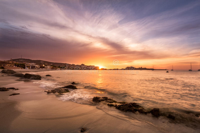 Sunset over L`Ile Rousse in Balagne region of Corsica royalty free stock photography