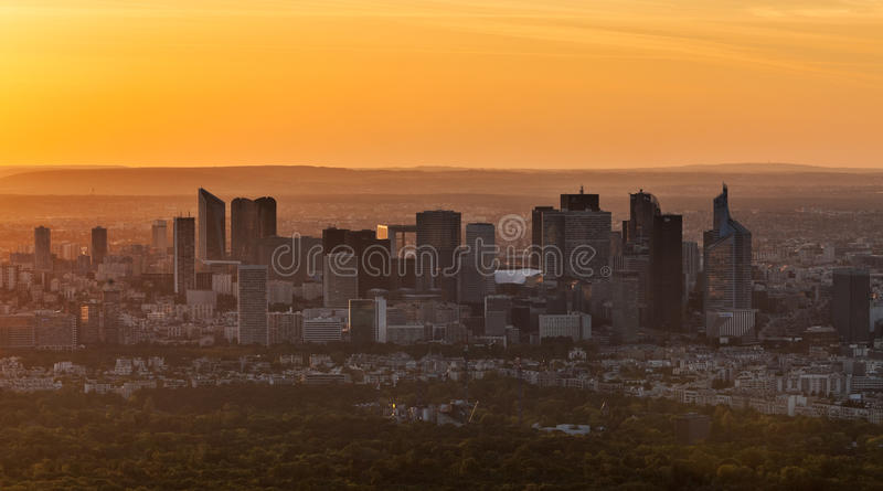 Sunset Over La Defense royalty free stock photography