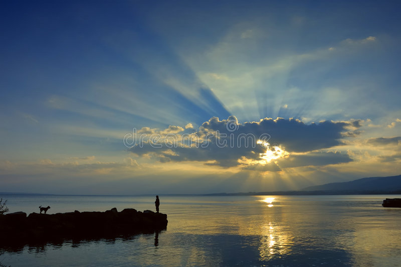 Download Sunset Over Lac Leman Royalty Free Stock Photography - Image: 4997587
