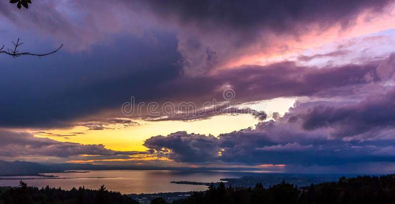 Sunset over Lake Constance stock photo