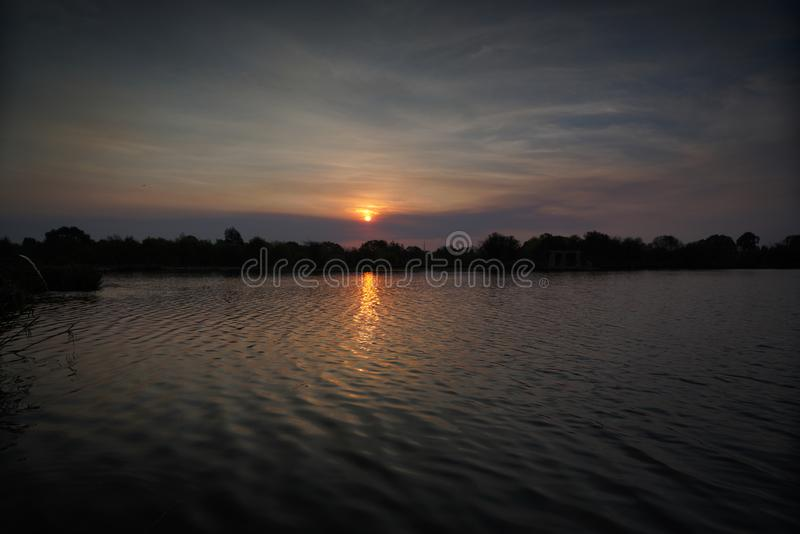 Sunset over a lake with ducks and birds royalty free stock photos