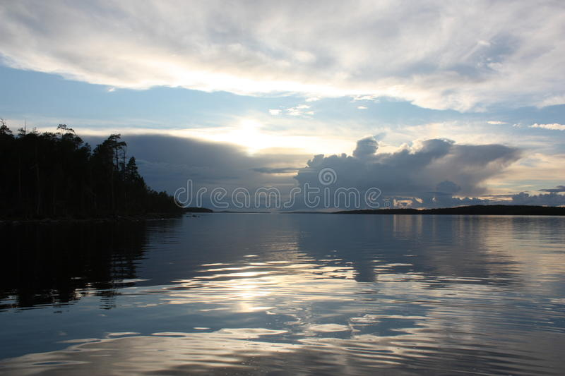 Sunset over the lake. stock photo