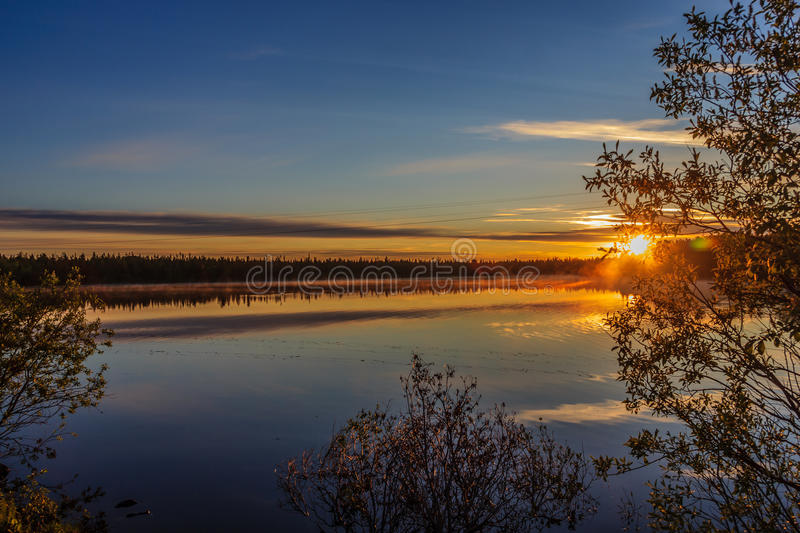 Sunset over Lake Komsomol stock photos