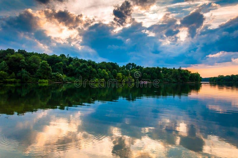 Sunset over Lake Marburg, in Codorus State Park, Pennsylvania. stock images