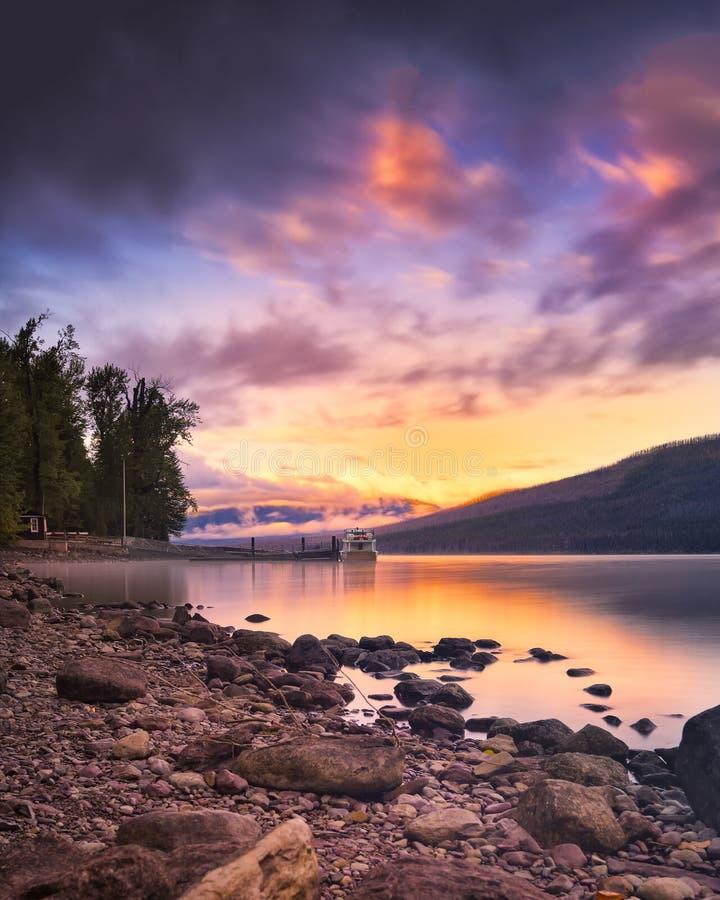 Sunset Over Lake McDonald royalty free stock photo