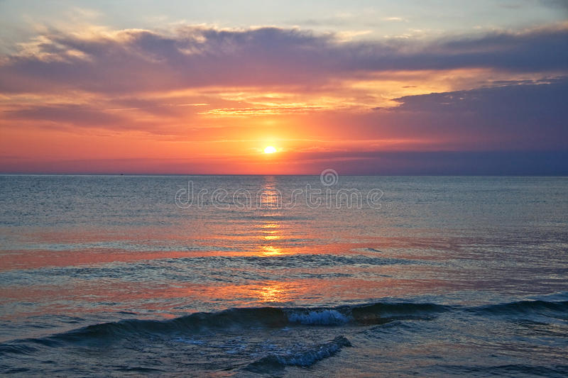 Sunset over Lake Michigan. A sunset over Lake Michigan. This was shot from Frankfort, Michigan royalty free stock photo