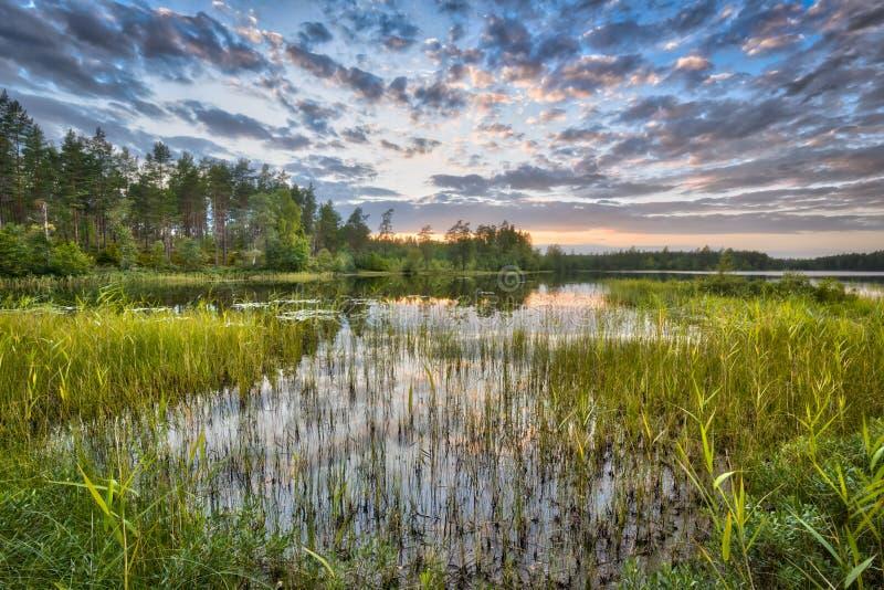 Sunset over lake Nordvattnet in Hokensas Nature reserve. Vastergotland, Sweden royalty free stock images