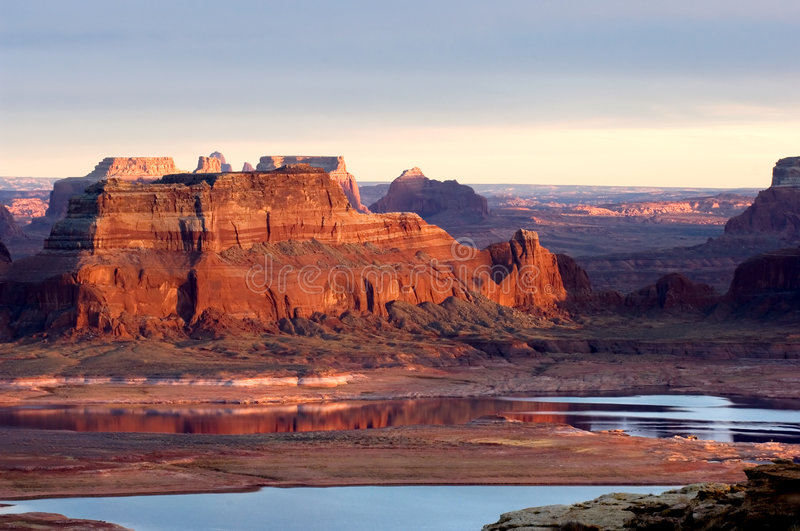 Sunset over lake Powell stock image