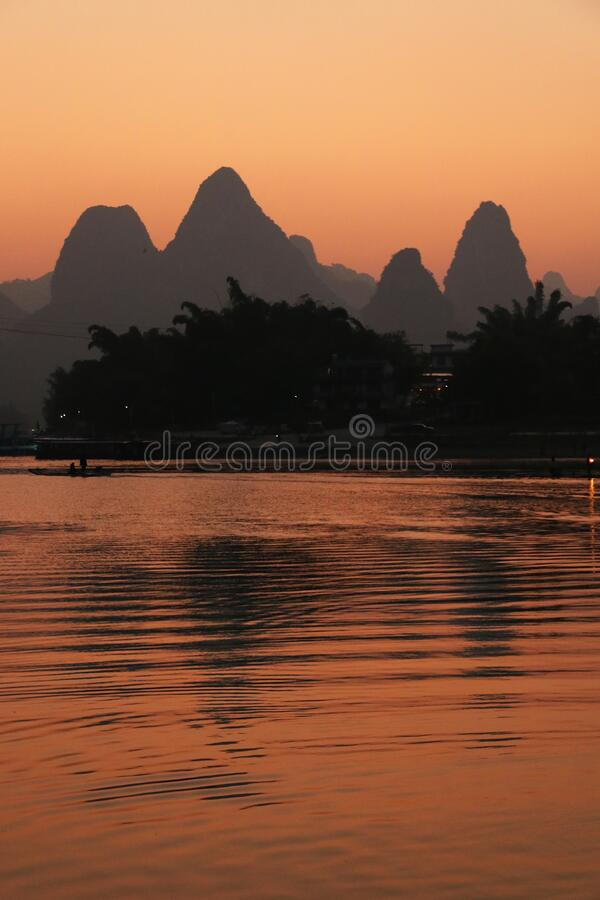 Sunset over the river at Xingping, Guilin stock images