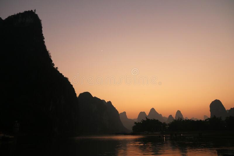 Sunset over the river at Xingping, Guilin stock photo