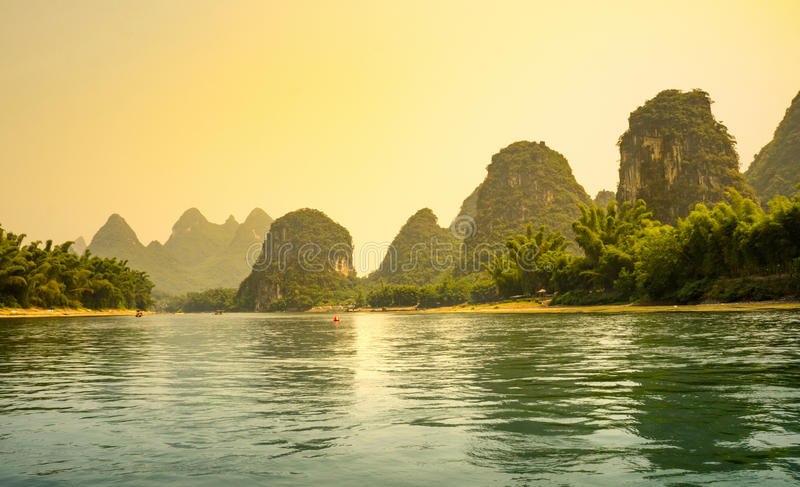 Download Sunset Over Li River In Yangshuo Stock Image - Image of scenery, environment: 90254531
