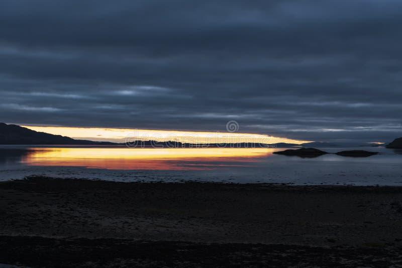 Loch Linnhe Dusk. A sunset over Loch Linnhe near the corran narrows and Ardgour, Lochaber, Scotland stock image