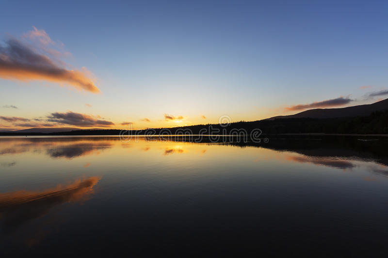 Sunset over Loch Morlich stock image
