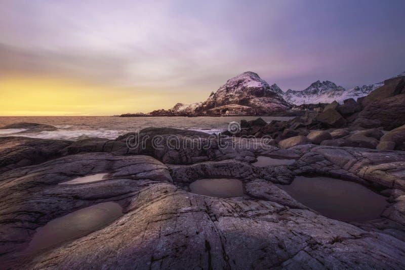 Sunset over Lofoten, Norway royalty free stock image