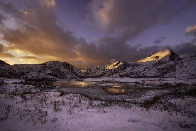 Sunset over Lofoten, Norway royalty free stock images